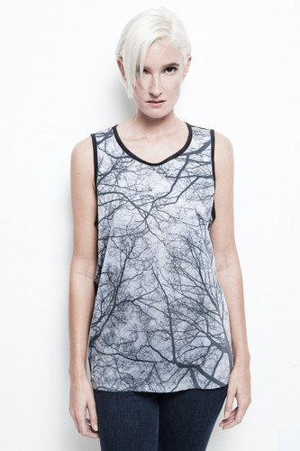 branches tank top all over winter tree print black unisex sublimation ONE SIZE