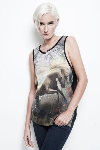 unicorn tank top all over unicorn print black unisex sublimation ONE SIZE