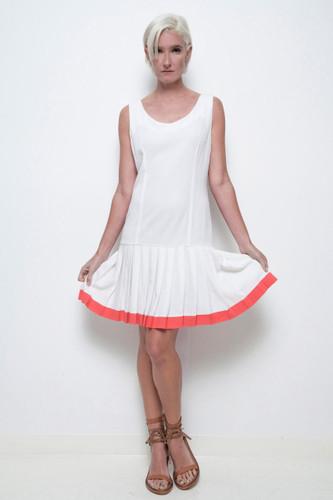 drop waist pleated dress white red sleeveless vintage 80s M