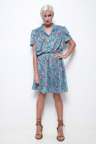 floral secretary dress green flower short sleeves vintage 70s L XL 1X