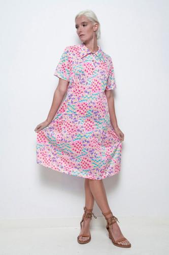 plus size vintage 70s day dress floral vibrant colorful print short sleeves XL 1X