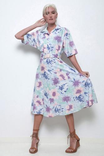 floral shirt dress belted blue watercolor print midi vintage 80s XL 1X