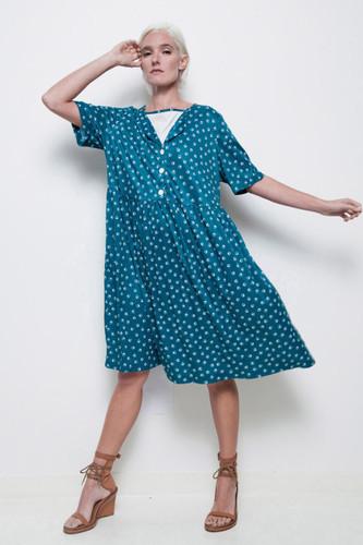plus size day dress vintage 70s green white geometric print 1X