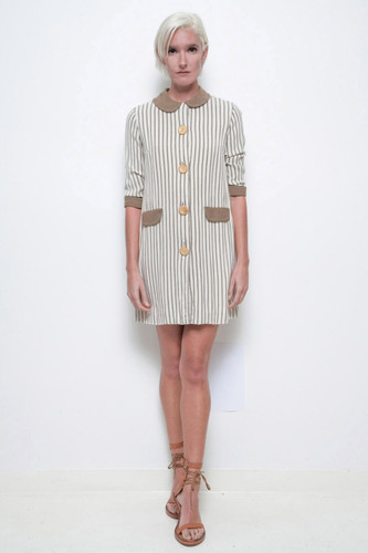 Peter Pan collar dress vintage 1960s mod striped khaki cream large buttons