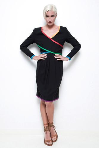 Oscar de la Renta dress vintage 80s black wool crepe pleated skirt colorful trims M
