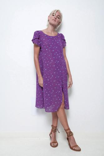 sheer purple dress floral tulip sleeves split front vintage 80s M L