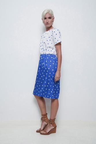 polka dot dress vintage 80s contrasting blue white short sleeves L