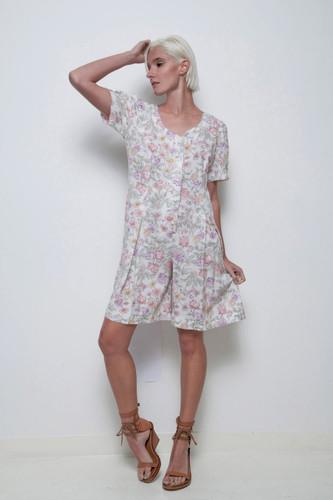 floral romper shorts vintage 80s pleated flower print L