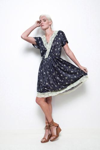 nylon pleated dress black cream floral lace trims vintage 70s XL 1X