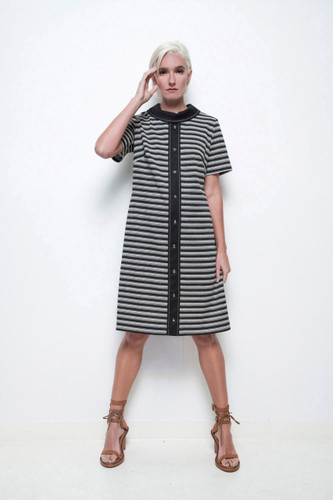 a-line striped day dress vintage 70s black white short sleeves M L