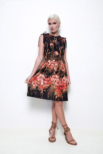 boho floral dress black orange vintage 70s sleeveless elastic waist ONE SIZE