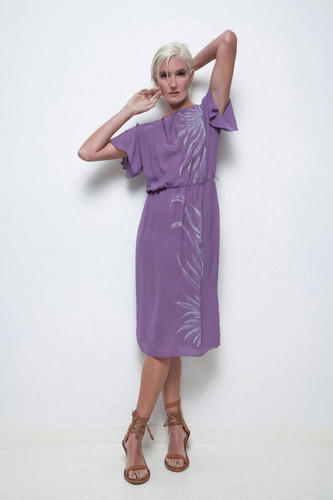 sheer purple dress vintage 70s glitter painted design S M