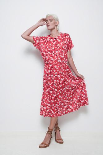 red tulip dress secretary midi day dress vintage 70s short sleeves XL 1X