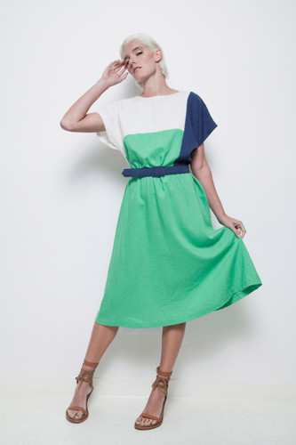 plus size colorblock dress geometric green blue white vintage 70s belted XL 1X
