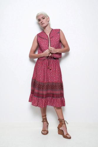 boho festival skirt vest set hippie dress 2-piece red floral vintage 70s M