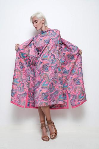 pink coat dress set psychedelic floral print long sleeves shift matching vintage 70s L XL