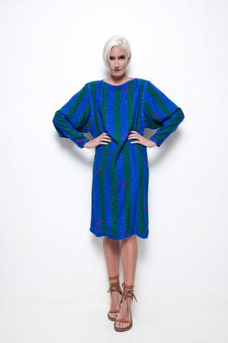 silk dress Floral Kung vintage 80s blue green stripes geometric long sleeves midi L