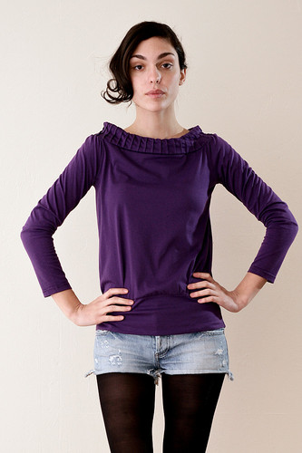 Off Shoulder Purple Stretch Top S