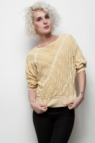 textured sweater yellow batwing sleeve knit top pucker eyelet vintage 80s S