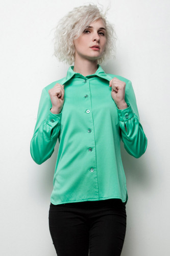 green polyester shirt vintage 70s pointy collar top long sleeves M