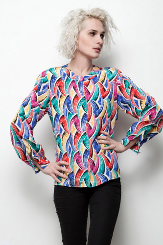 secretary scarf top colorful print satin vintage 80s blouse long sleeves L