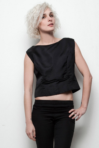 vintage 1950s sleeveless top black fitted crop M L