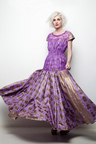 African wax fabric evening gown maxi dress purple gold lace open back L