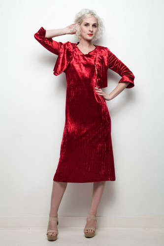 red velvet dress bolero jacket vintage 2-piece sequin trim bell sleeves S