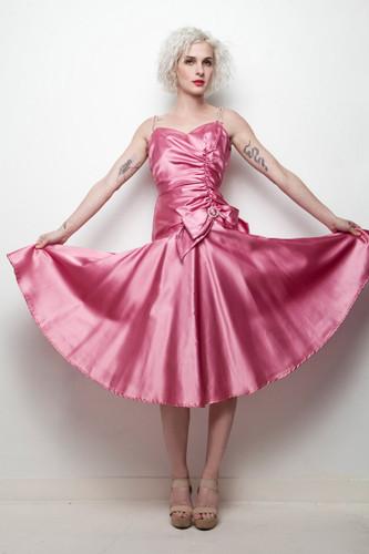 vintage 80s party dress dark pink gathered drop waist rhinestone shoulder straps XXS XS