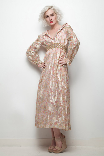 pink gold evening gown metallic floral maxi dress vintage 70s long sleeves XXS XS