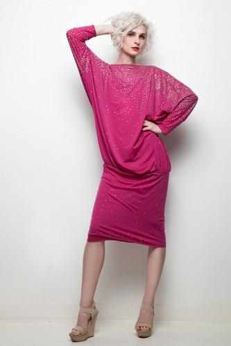draped party dress fuschia pink star dust glitter cowl back vintage 80s oversize M