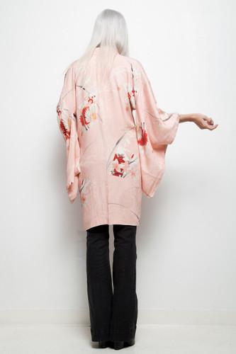 vintage haori kimono jacket Japanese pink floral jacquard ONE SIZE