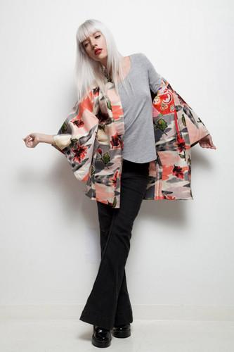 vintage kimono haori jacket Japanese meisen silk pink floral impressionist ONE SIZE