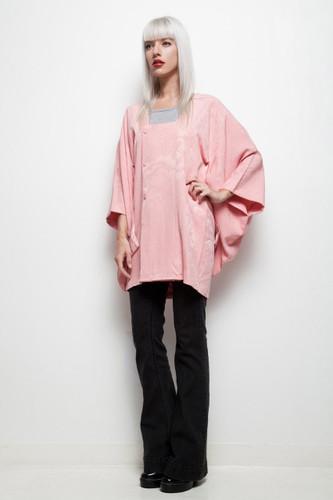 vintage kimono michiyuki pink top square neck floral jacquard ONE SIZE