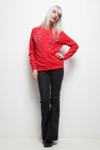 SALE red beaded sweater cardigan sequins vintage 60s floral beads sequinned FLAW XL