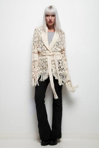 crochet knit duster long cardigan fringe sweater cream vintage ultra long sleeves ONE SIZE
