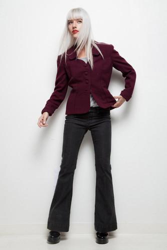 vintage 40s wool jacket dark red fit and flare peplum M L