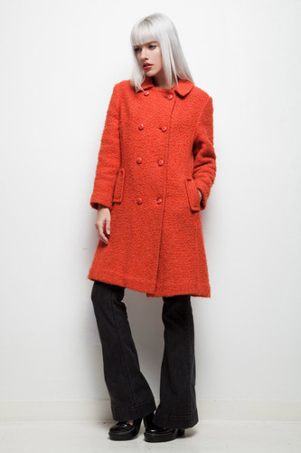 vintage 60s coat brick red chunky wool double breasted M L