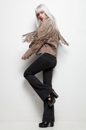fringed leather jacket textured nubuck suede khaki vintage 80s L XL