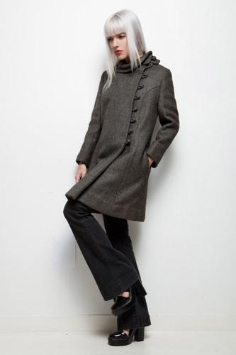 vintage 60s MOD asymmetrical pea coat heather gray wool