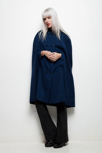 cape coat navy blue vintage 1950s double breasted Vogue Couturier Design ONE SIZE