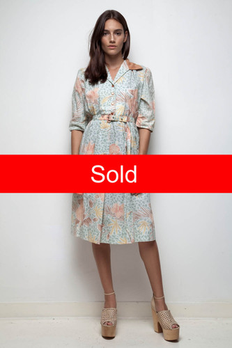 70s does 50s shirtwaist dress pastel palm floral print Hawaiian cotton blend vintage XL