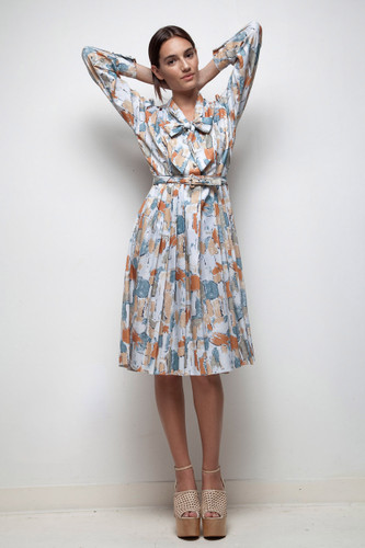 70s does 50s shirtwaist bow dress vintage pleated abstract scribble print LARGE L