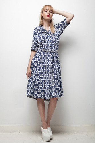 navy white honeycomb print classic 1970s day dress pleated LARGE L