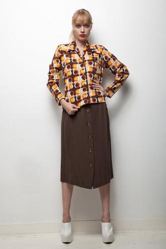 70s skirt blouse top set brown orange geometric dot long sleeve MEDIUM M