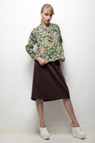 70s does 50s skirt & blouse set brown green geometric diamond LARGE L