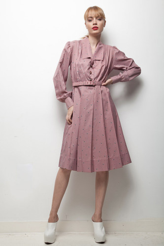 70s does 50s shirtwaist dress grey pink checked pleated LARGE L