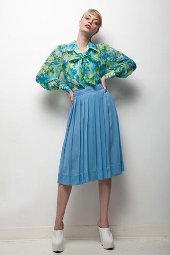 blue floral secretary dress set bow blouse vintage 70s sheer pleated skirt L