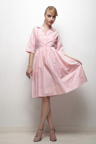1950s day dres fit and flare pleated shirtwaist dress pink cotton SMALL S