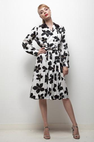 70s classy bold flower print belted shirtwaist dress black white LARGE L
